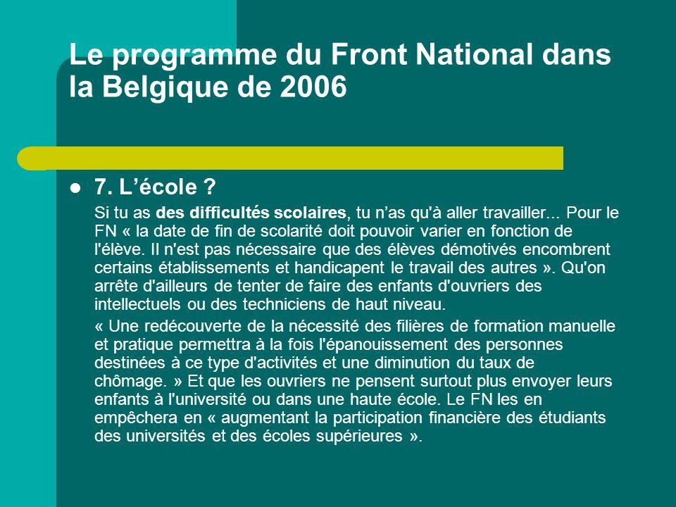 Le programme du Front National dans la Belgique de 2006 7. L'école ? Si tu as des difficultés scolaires, tu n'as qu'à aller travailler... Pour le FN «