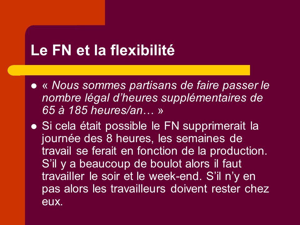 Le FN et la flexibilité « Nous sommes partisans de faire passer le nombre légal d'heures supplémentaires de 65 à 185 heures/an… » Si cela était possib