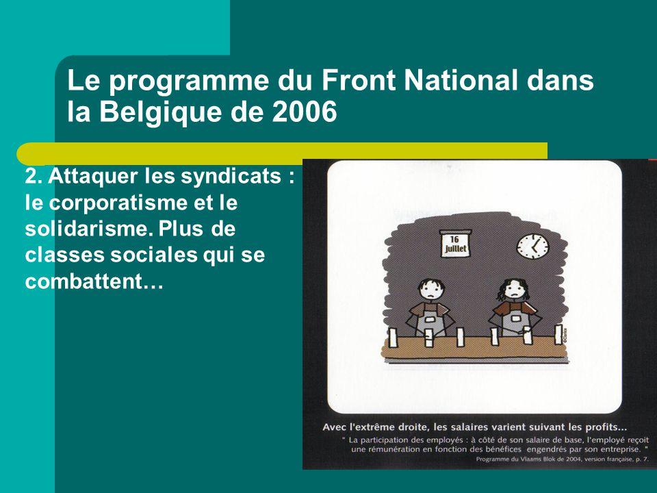 Le programme du Front National dans la Belgique de 2006 2. Attaquer les syndicats : le corporatisme et le solidarisme. Plus de classes sociales qui se
