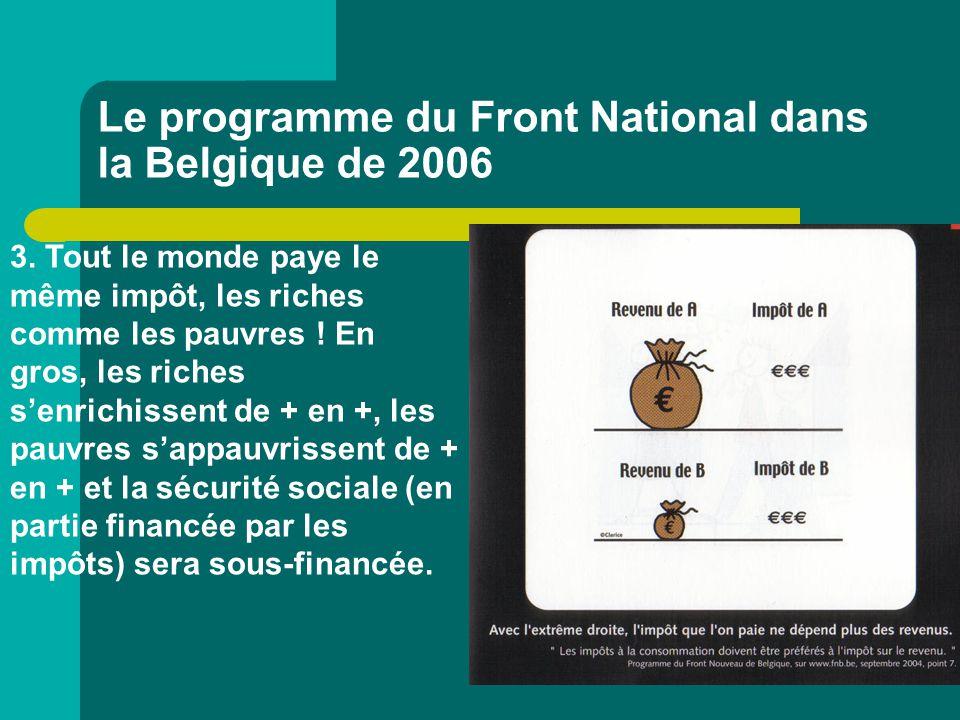 Le programme du Front National dans la Belgique de 2006 3. Tout le monde paye le même impôt, les riches comme les pauvres ! En gros, les riches s'enri