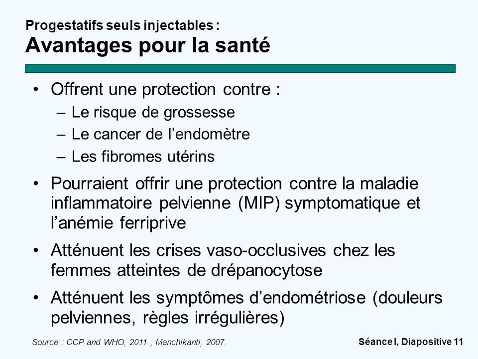 Séance I, Diapositive 11 Progestatifs seuls injectables : Avantages pour la santé Offrent une protection contre : –Le risque de grossesse –Le cancer d