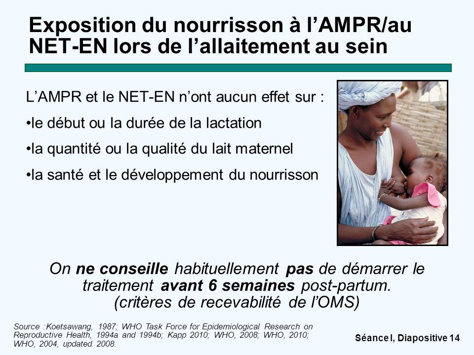 Séance I, Diapositive 14 Exposition du nourrisson à l'AMPR/au NET-EN lors de l'allaitement au sein L'AMPR et le NET-EN n'ont aucun effet sur : le débu