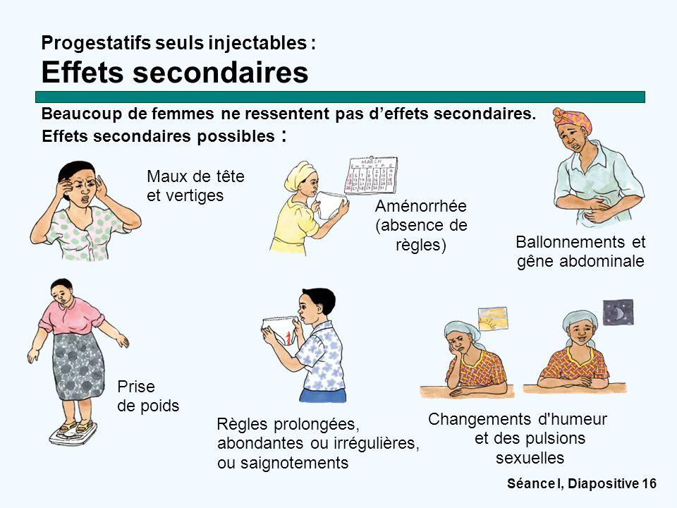 Séance I, Diapositive 16 Progestatifs seuls injectables : Effets secondaires Maux de tête et vertiges Beaucoup de femmes ne ressentent pas d'effets se