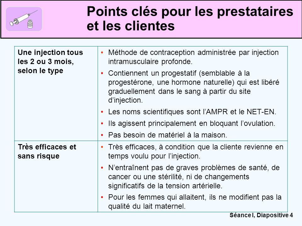 Séance I, Diapositive 4 Points clés pour les prestataires et les clientes Une injection tous les 2 ou 3 mois, selon le type Méthode de contraception a