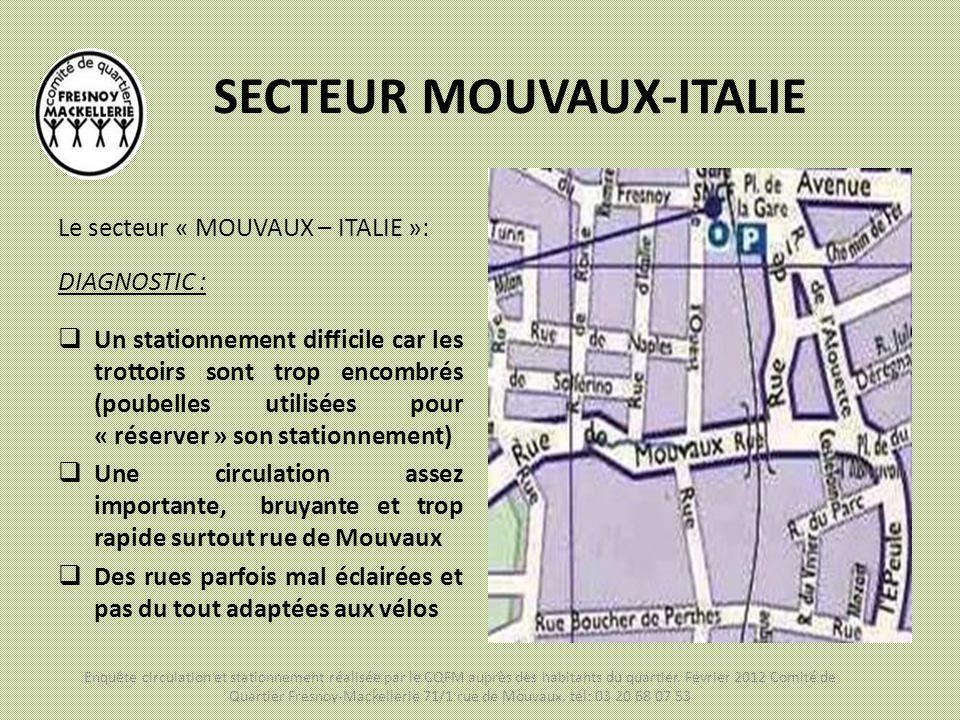 SECTEUR MOUVAUX-ITALIE Le secteur « MOUVAUX – ITALIE »: DIAGNOSTIC :  Un stationnement difficile car les trottoirs sont trop encombrés (poubelles uti