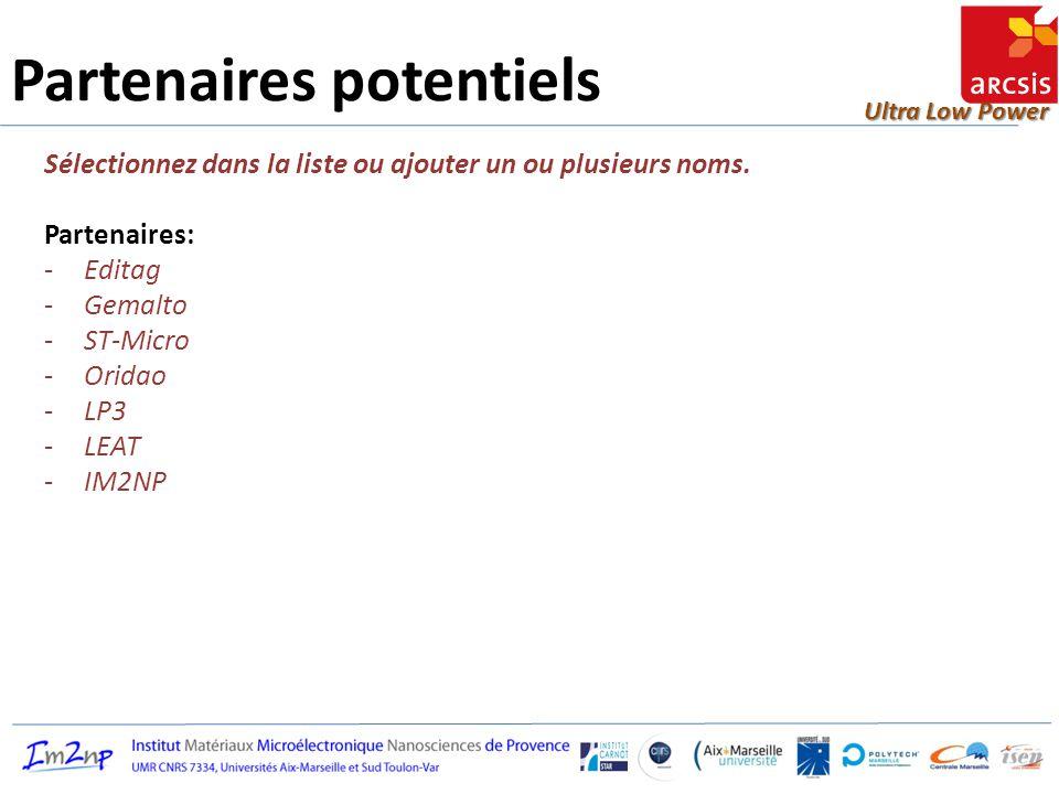 Ultra Low Power Partenaires potentiels Sélectionnez dans la liste ou ajouter un ou plusieurs noms. Partenaires: -Editag -Gemalto -ST-Micro -Oridao -LP