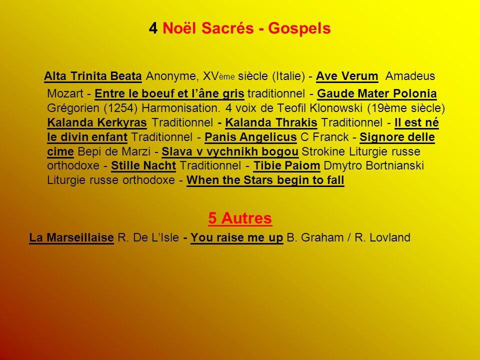 4 Noël Sacrés - Gospels Alta Trinita Beata Anonyme, XV ème siècle (Italie) - Ave Verum Amadeus Mozart - Entre le boeuf et l'âne gris traditionnel - Ga