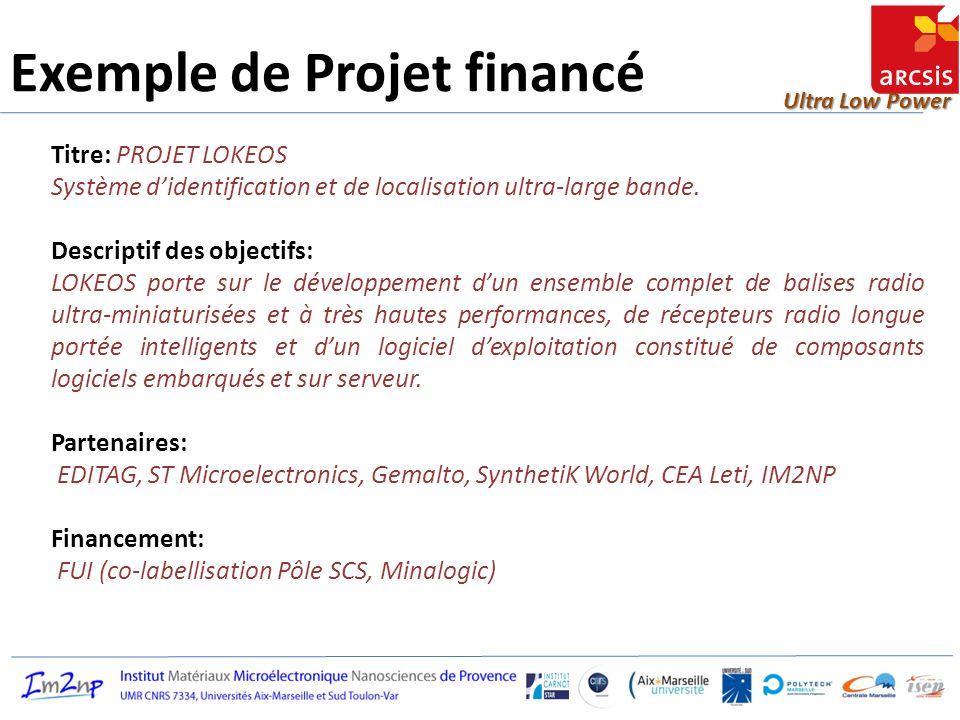 Ultra Low Power Exemple de Projet financé Titre: PROJET LOKEOS Système d'identification et de localisation ultra-large bande. Descriptif des objectifs