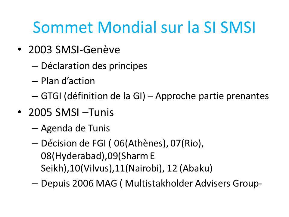 Sommet Mondial sur la SI SMSI 2003 SMSI-Genève – Déclaration des principes – Plan d'action – GTGI (définition de la GI) – Approche partie prenantes 2005 SMSI –Tunis – Agenda de Tunis – Décision de FGI ( 06(Athènes), 07(Rio), 08(Hyderabad),09(Sharm E Seikh),10(Vilvus),11(Nairobi), 12 (Abaku) – Depuis 2006 MAG ( Multistakholder Advisers Group-