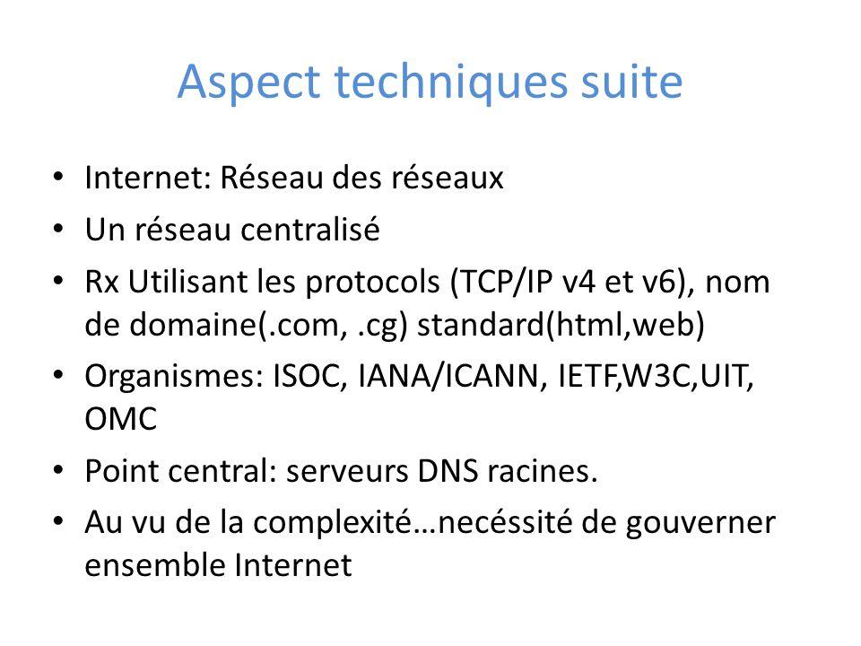 Aspect techniques suite Internet: Réseau des réseaux Un réseau centralisé Rx Utilisant les protocols (TCP/IP v4 et v6), nom de domaine(.com,.cg) standard(html,web) Organismes: ISOC, IANA/ICANN, IETF,W3C,UIT, OMC Point central: serveurs DNS racines.