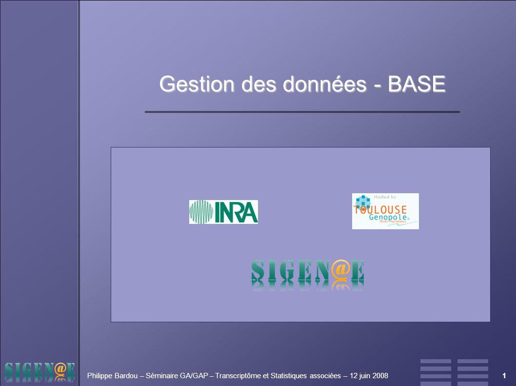 1Philippe Bardou – Séminaire GA/GAP – Transcriptôme et Statistiques associées – 12 juin 2008 Gestion des données - BASE