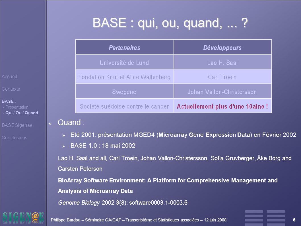 5Philippe Bardou – Séminaire GA/GAP – Transcriptôme et Statistiques associées – 12 juin 2008 BASE : qui, ou, quand,...