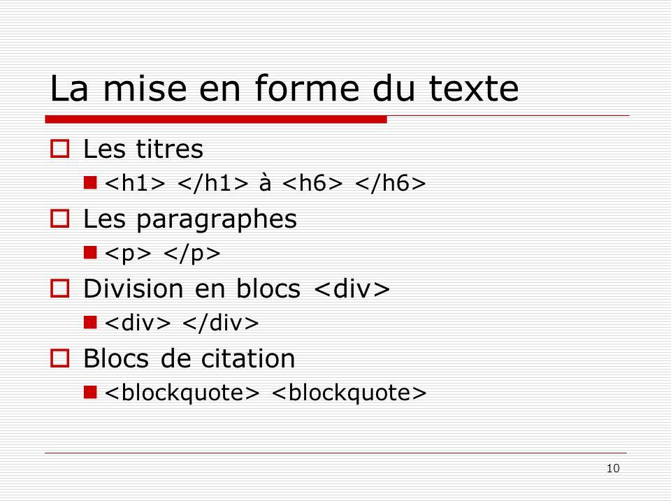 10 La mise en forme du texte  Les titres à  Les paragraphes  Division en blocs  Blocs de citation