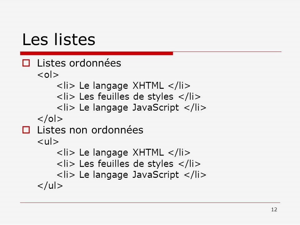 12 Les listes  Listes ordonnées Le langage XHTML Les feuilles de styles Le langage JavaScript  Listes non ordonnées Le langage XHTML Les feuilles de