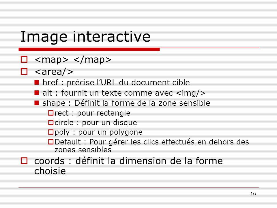 16 Image interactive  href : précise l'URL du document cible alt : fournit un texte comme avec shape : Définit la forme de la zone sensible  rect :