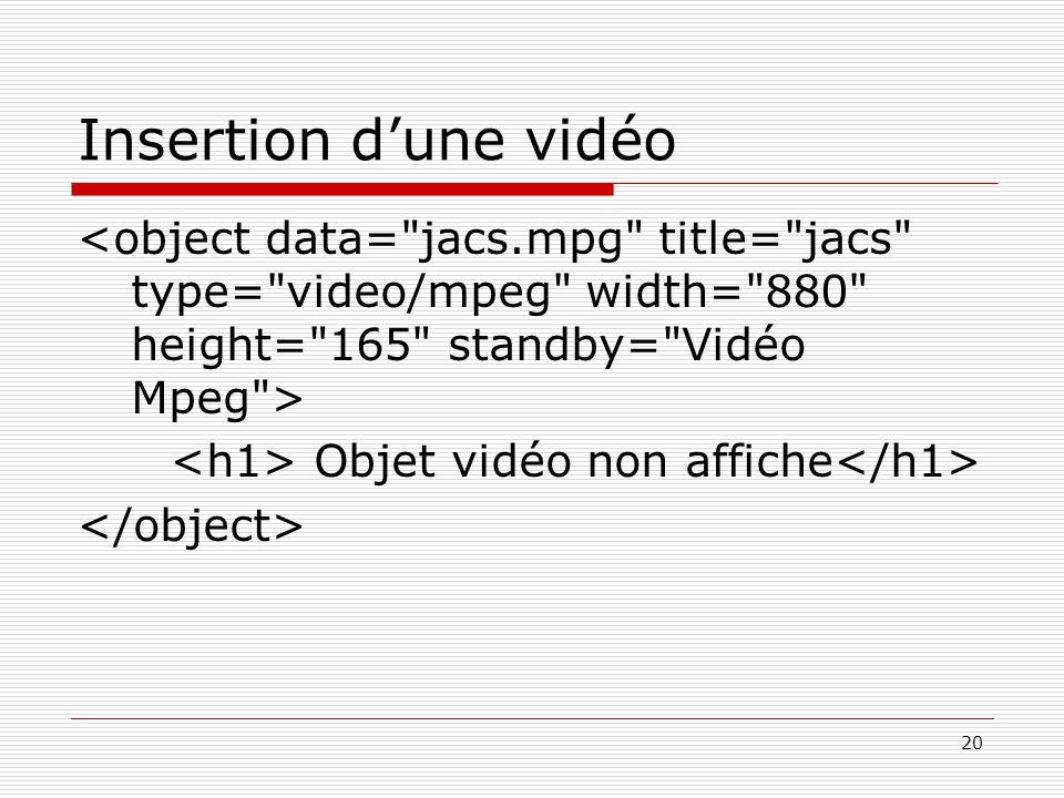 20 Insertion d'une vidéo Objet vidéo non affiche