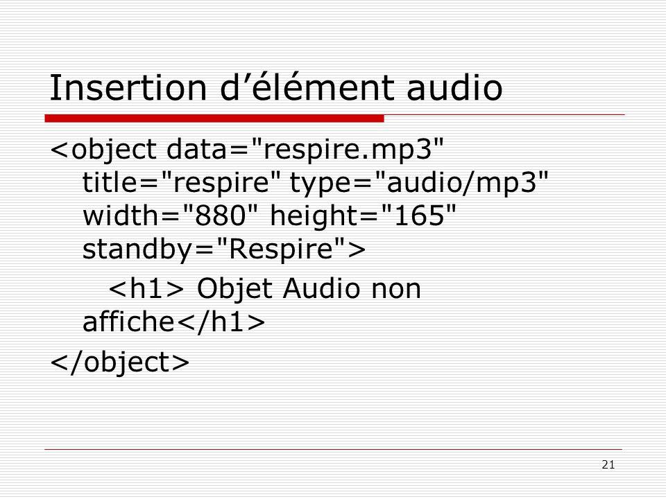 21 Insertion d'élément audio Objet Audio non affiche