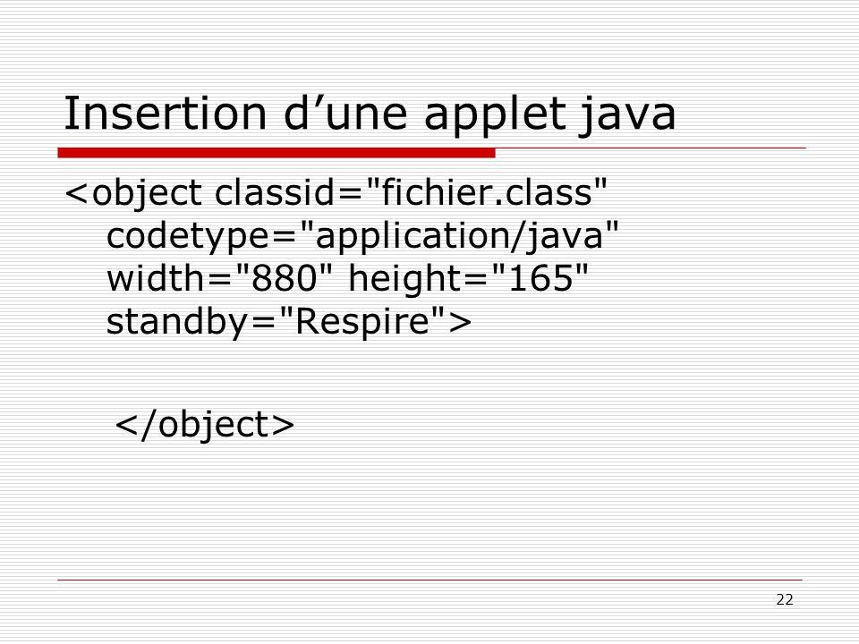 22 Insertion d'une applet java