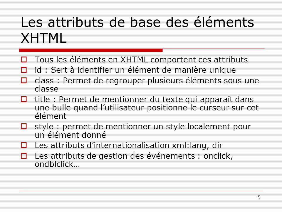 5 Les attributs de base des éléments XHTML  Tous les éléments en XHTML comportent ces attributs  id : Sert à identifier un élément de manière unique  class : Permet de regrouper plusieurs éléments sous une classe  title : Permet de mentionner du texte qui apparaît dans une bulle quand l'utilisateur positionne le curseur sur cet élément  style : permet de mentionner un style localement pour un élément donné  Les attributs d'internationalisation xml:lang, dir  Les attributs de gestion des événements : onclick, ondblclick…