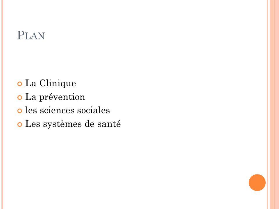 P LAN La Clinique La prévention les sciences sociales Les systèmes de santé