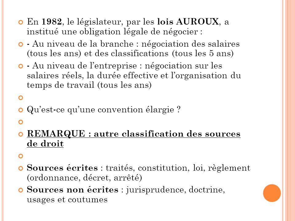 En 1982, le législateur, par les lois AUROUX, a institué une obligation légale de négocier : - Au niveau de la branche : négociation des salaires (tou