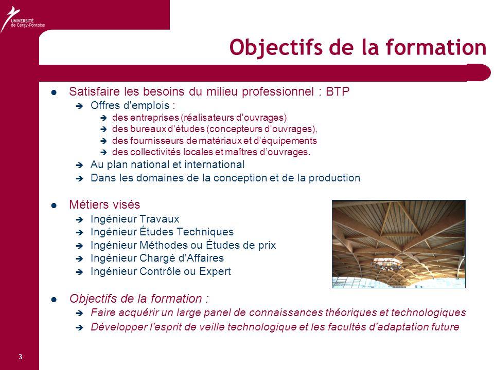 3 Objectifs de la formation Satisfaire les besoins du milieu professionnel : BTP  Offres d'emplois :  des entreprises (réalisateurs d'ouvrages)  de