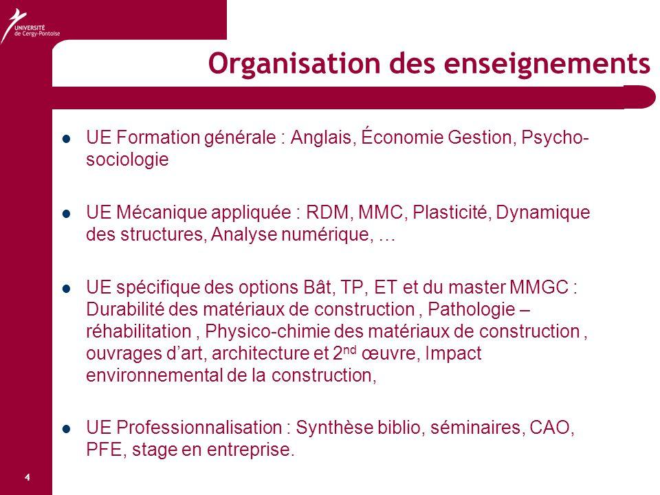 4 Organisation des enseignements UE Formation générale : Anglais, Économie Gestion, Psycho- sociologie UE Mécanique appliquée : RDM, MMC, Plasticité,