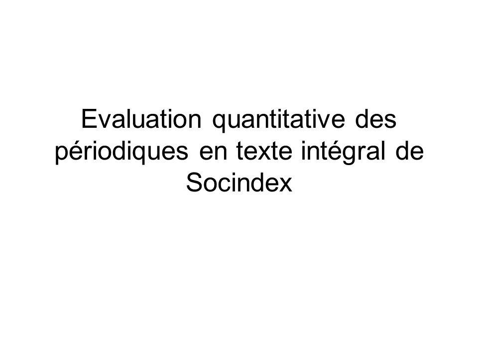 Evaluation quantitative des périodiques en texte intégral de Socindex