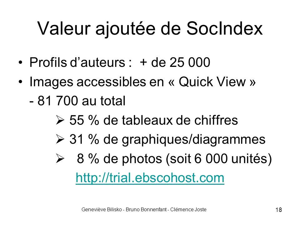 Geneviève Bilisko - Bruno Bonnenfant - Clémence Joste 18 Valeur ajoutée de SocIndex Profils d'auteurs : + de 25 000 Images accessibles en « Quick View » - 81 700 au total  55 % de tableaux de chiffres  31 % de graphiques/diagrammes  8 % de photos (soit 6 000 unités) http://trial.ebscohost.com