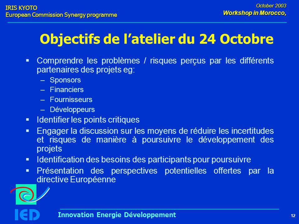 IRIS KYOTO European Commission Synergy programme 12 October 2003 Workshop in Morocco, Innovation Energie Développement Objectifs de l'atelier du 24 Oc
