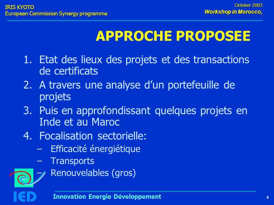 IRIS KYOTO European Commission Synergy programme 4 October 2003 Workshop in Morocco, Innovation Energie Développement APPROCHE PROPOSEE 1.Etat des lieux des projets et des transactions de certificats 2.A travers une analyse d'un portefeuille de projets 3.Puis en approfondissant quelques projets en Inde et au Maroc 4.Focalisation sectorielle: –Efficacité énergiétique –Transports –Renouvelables (gros)
