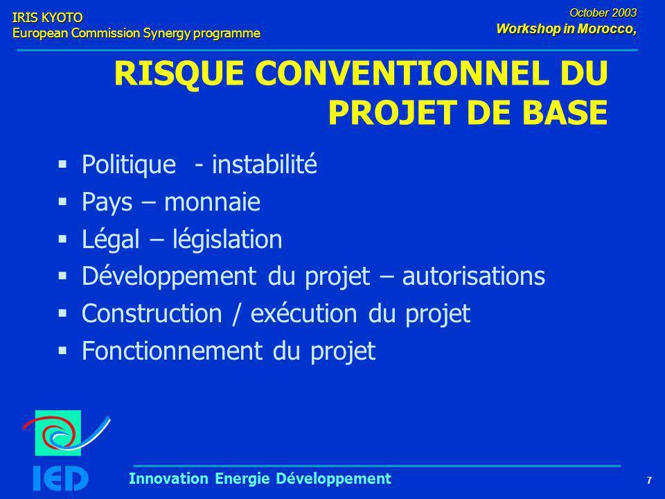 IRIS KYOTO European Commission Synergy programme 7 October 2003 Workshop in Morocco, Innovation Energie Développement RISQUE CONVENTIONNEL DU PROJET DE BASE  Politique - instabilité  Pays – monnaie  Légal – législation  Développement du projet – autorisations  Construction / exécution du projet  Fonctionnement du projet