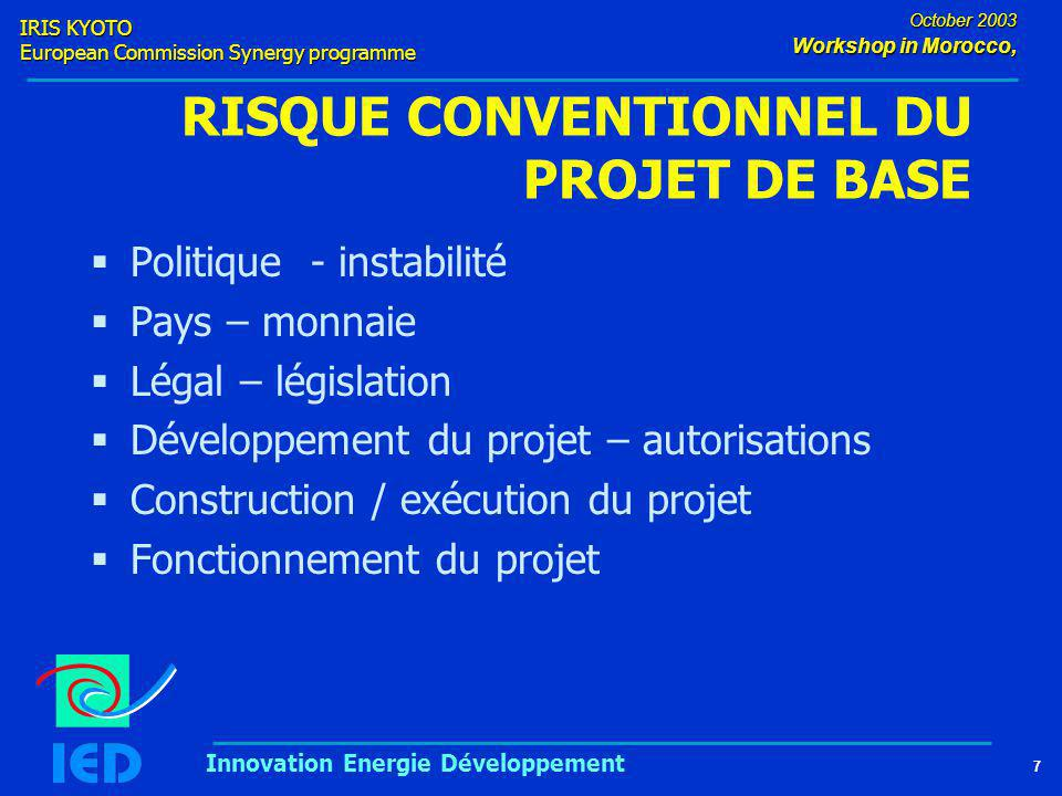 IRIS KYOTO European Commission Synergy programme 7 October 2003 Workshop in Morocco, Innovation Energie Développement RISQUE CONVENTIONNEL DU PROJET D