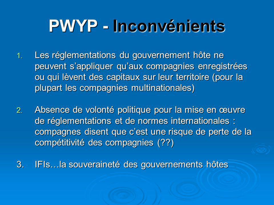 PWYP - Inconvénients 1. Les réglementations du gouvernement hôte ne peuvent s'appliquer qu'aux compagnies enregistrées ou qui lèvent des capitaux sur