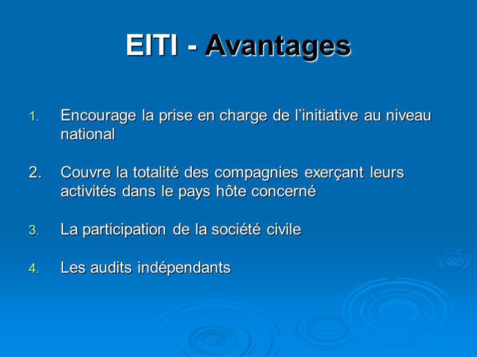 EITI - Avantages 1. Encourage la prise en charge de l'initiative au niveau national 2.Couvre la totalité des compagnies exerçant leurs activités dans