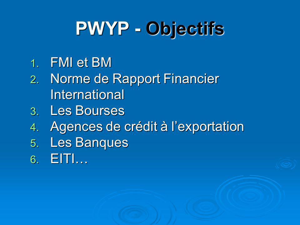 PWYP - Objectifs 1. FMI et BM 2. Norme de Rapport Financier International 3. Les Bourses 4. Agences de crédit à l'exportation 5. Les Banques 6. EITI…