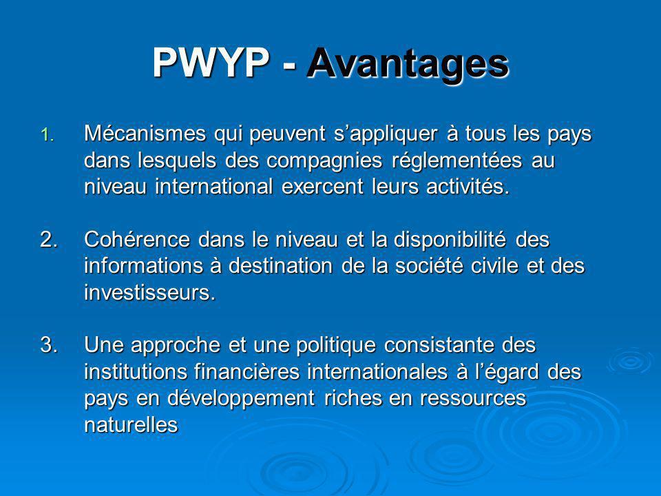 PWYP - Avantages 1. Mécanismes qui peuvent s'appliquer à tous les pays dans lesquels des compagnies réglementées au niveau international exercent leur