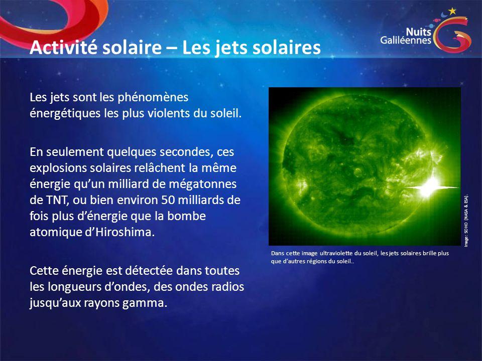 Activité solaire – Les jets solaires Les jets sont les phénomènes énergétiques les plus violents du soleil. En seulement quelques secondes, ces explos