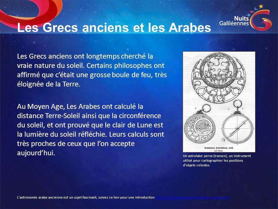 Les Grecs anciens et les Arabes Les Grecs anciens ont longtemps cherché la vraie nature du soleil. Certains philosophes ont affirmé que c'était une gr