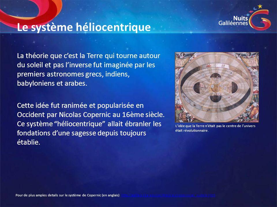 Le système héliocentrique La théorie que c'est la Terre qui tourne autour du soleil et pas l'inverse fut imaginée par les premiers astronomes grecs, i
