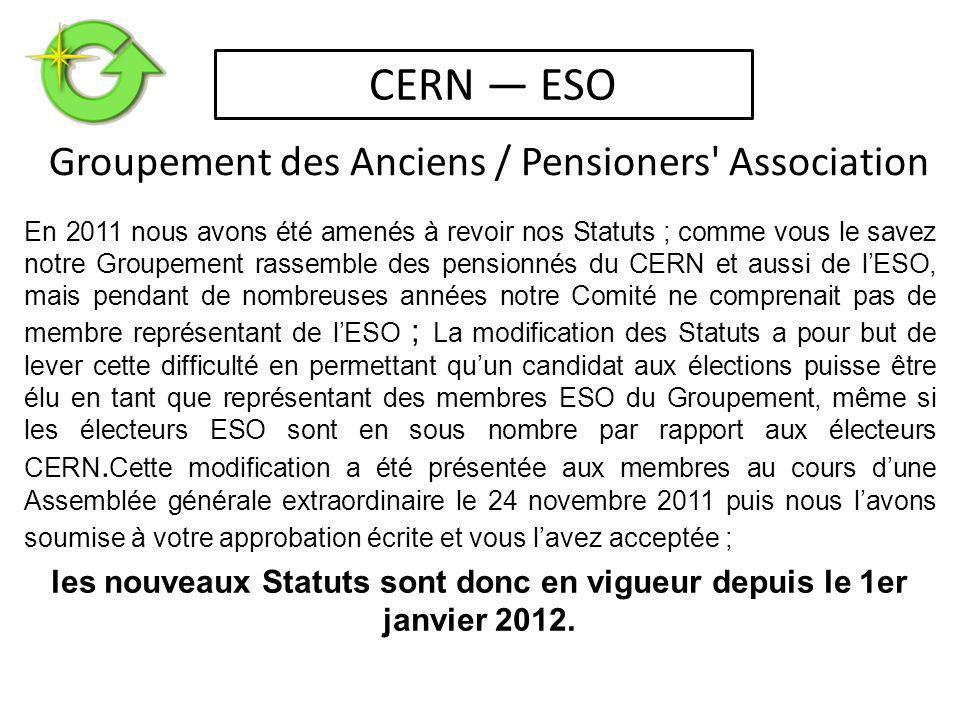 En 2011 nous avons été amenés à revoir nos Statuts ; comme vous le savez notre Groupement rassemble des pensionnés du CERN et aussi de l'ESO, mais pendant de nombreuses années notre Comité ne comprenait pas de membre représentant de l'ESO ; La modification des Statuts a pour but de lever cette difficulté en permettant qu'un candidat aux élections puisse être élu en tant que représentant des membres ESO du Groupement, même si les électeurs ESO sont en sous nombre par rapport aux électeurs CERN.