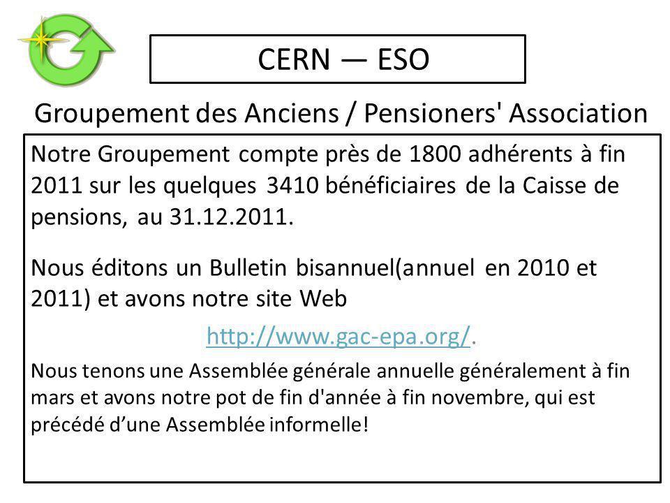 Notre Groupement compte près de 1800 adhérents à fin 2011 sur les quelques 3410 bénéficiaires de la Caisse de pensions, au 31.12.2011.