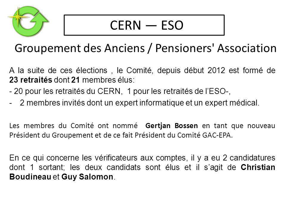 A la suite de ces élections, le Comité, depuis début 2012 est formé de 23 retraités dont 21 membres élus: - 20 pour les retraités du CERN, 1 pour les retraités de l'ESO-, -2 membres invités dont un expert informatique et un expert médical.