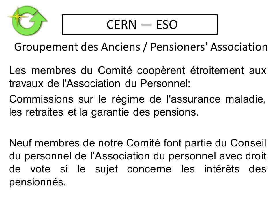 Les membres du Comité coopèrent étroitement aux travaux de l Association du Personnel: Commissions sur le régime de l assurance maladie, les retraites et la garantie des pensions.