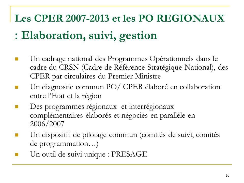 10 Les CPER 2007-2013 et les PO REGIONAUX : Elaboration, suivi, gestion Un cadrage national des Programmes Opérationnels dans le cadre du CRSN (Cadre