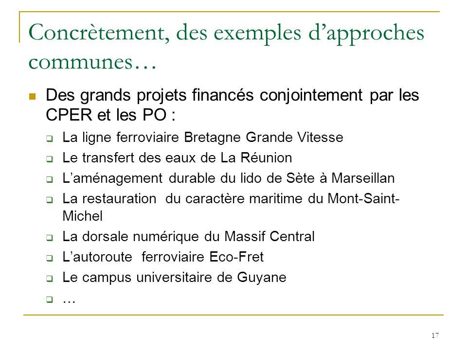 17 Concrètement, des exemples d'approches communes… Des grands projets financés conjointement par les CPER et les PO :  La ligne ferroviaire Bretagne
