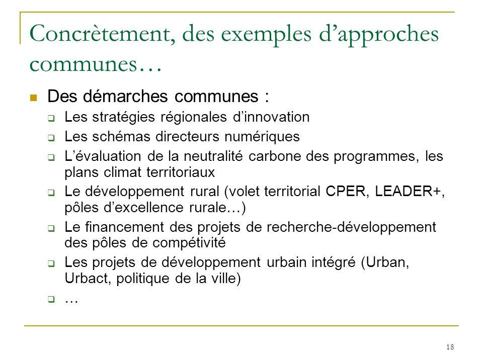 18 Concrètement, des exemples d'approches communes… Des démarches communes :  Les stratégies régionales d'innovation  Les schémas directeurs numériq