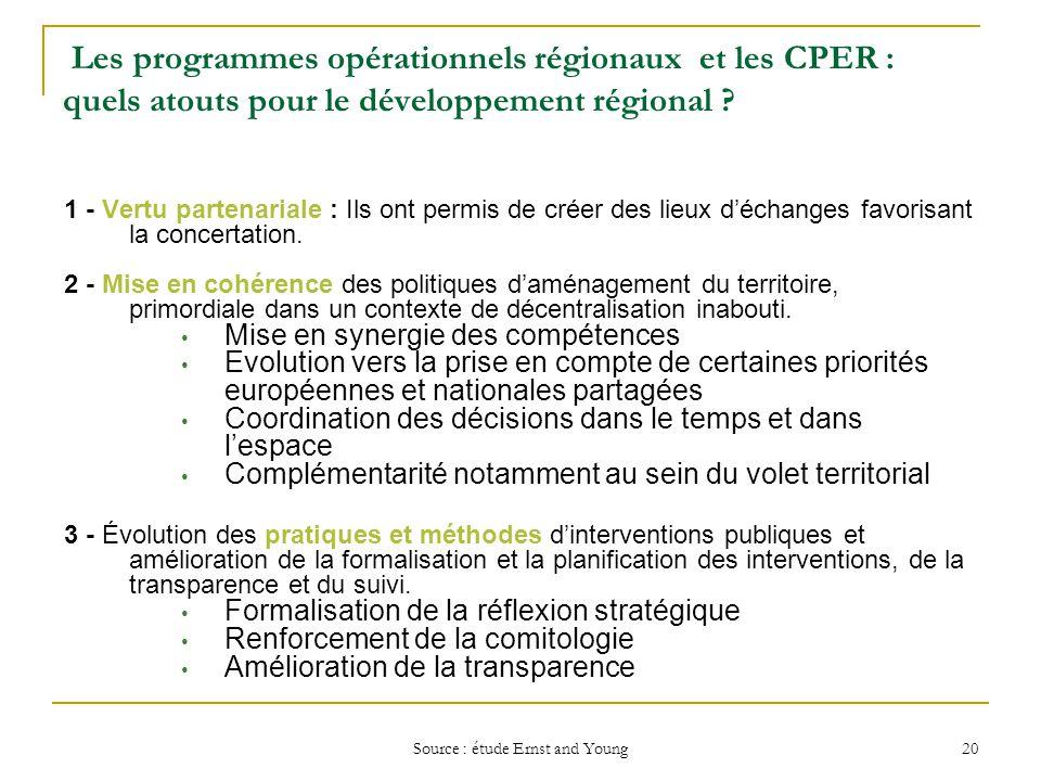 Source : étude Ernst and Young 20 Les programmes opérationnels régionaux et les CPER : quels atouts pour le développement régional ? 1 - Vertu partena