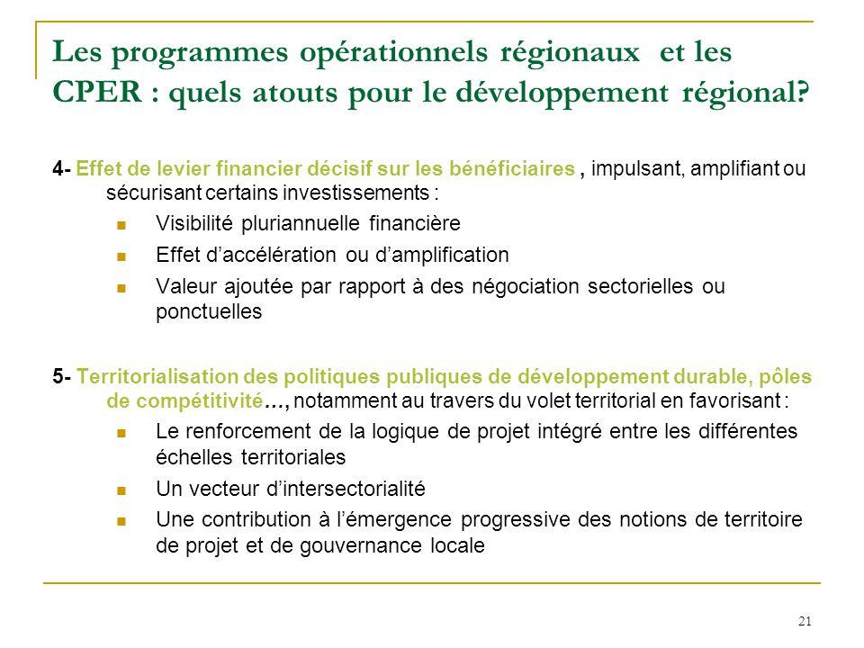 21 Les programmes opérationnels régionaux et les CPER : quels atouts pour le développement régional? 4- Effet de levier financier décisif sur les béné