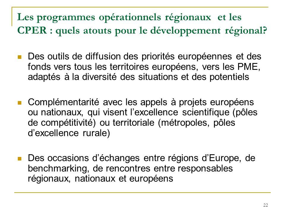 22 Les programmes opérationnels régionaux et les CPER : quels atouts pour le développement régional? Des outils de diffusion des priorités européennes